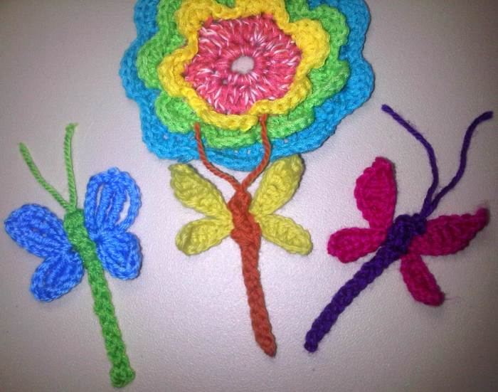 Libelulas flor crochet