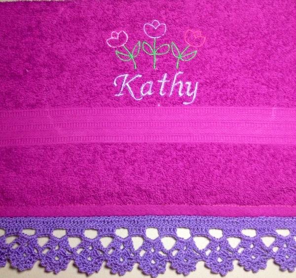 Toallas Personalizadas con Bordado y Puntilla Tejida en Crochet (5/6)