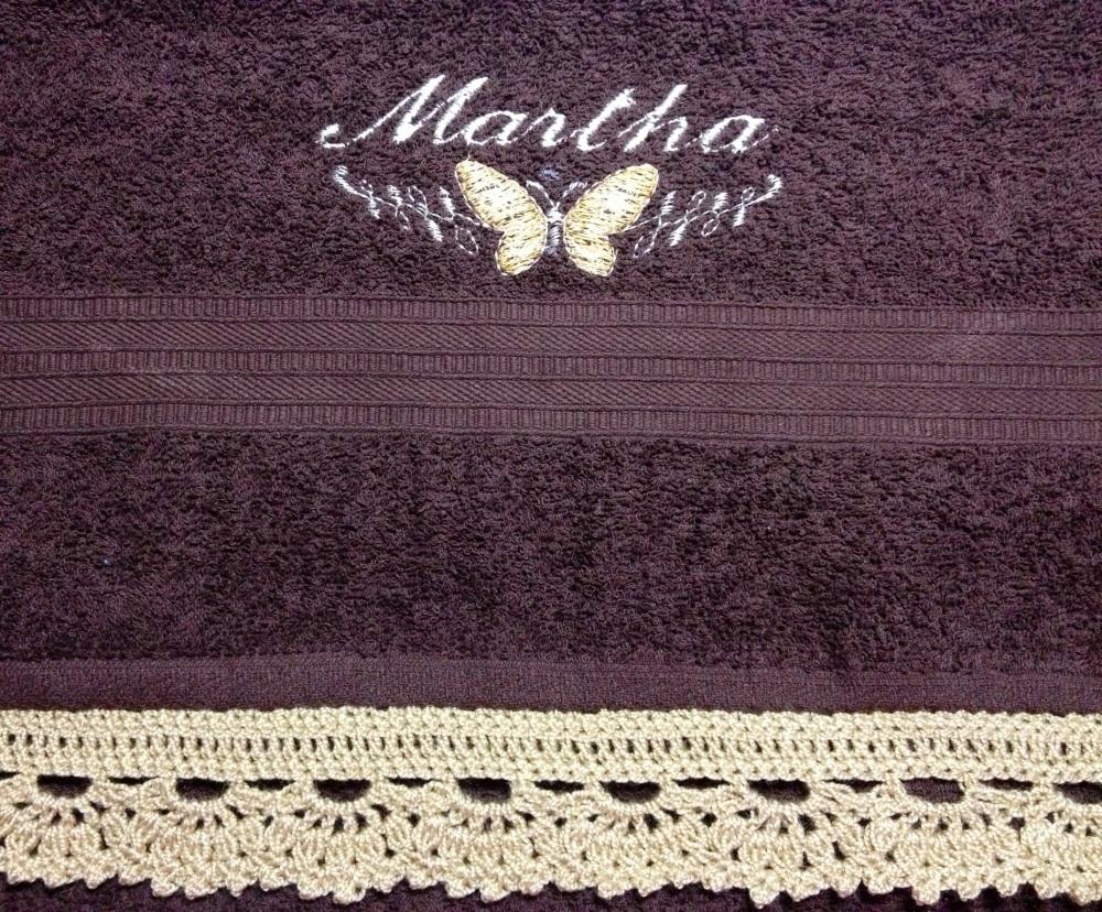 Toallas Personalizadas con Bordado y Puntilla Tejida en Crochet (4/6)
