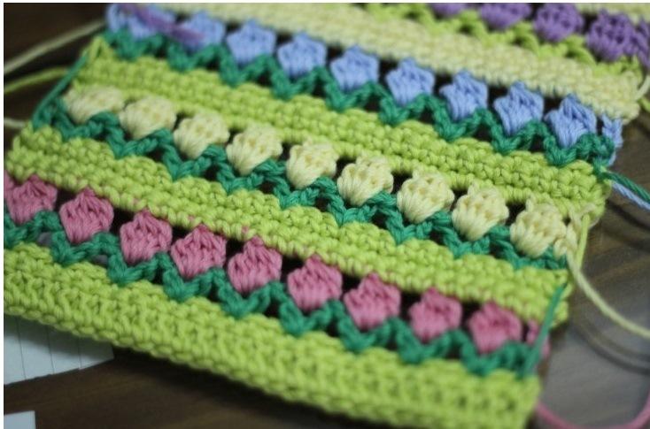 Punto Tulipanes - Un gráfico de crochet Gratis! (1/4)