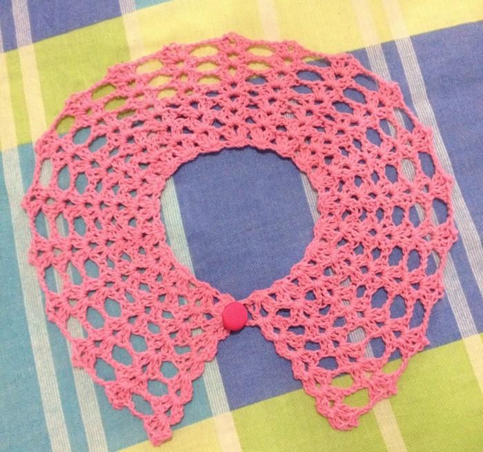 cuello peter pan crochet rosado niña